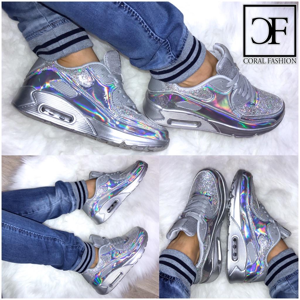 NEW**/' HOLO glanz LUFT Damen Sportschuhe Sneakers mit GLITZER Rainbow