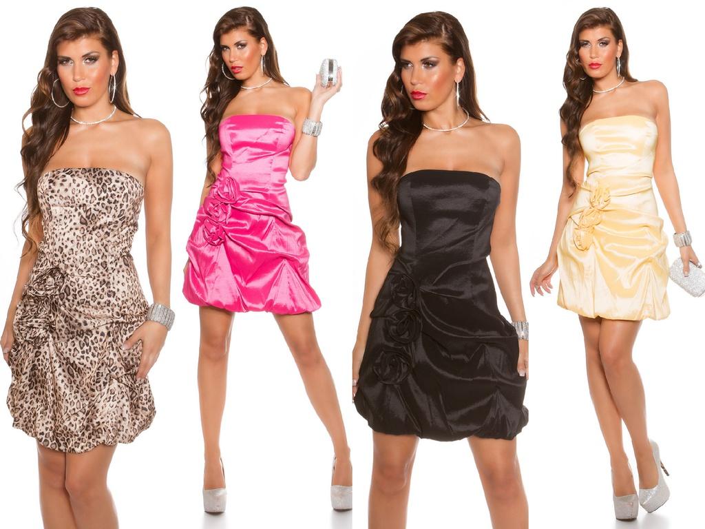 Sexy Damen stretch Party Bandeau Cocktail Kleid mit Blumen ...