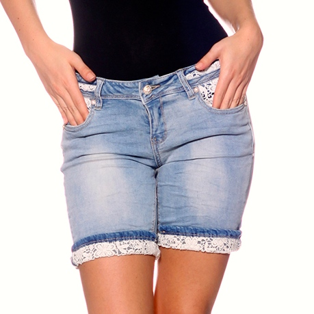 stretch jeans bermuda shorts mit spitze ebay. Black Bedroom Furniture Sets. Home Design Ideas