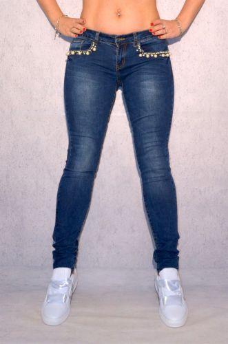 fashion stretch jeans hose mit perlen strass um die. Black Bedroom Furniture Sets. Home Design Ideas