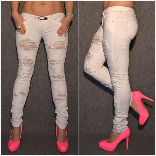 weisse stretch jeans im destroyed look mit strass g rtel. Black Bedroom Furniture Sets. Home Design Ideas