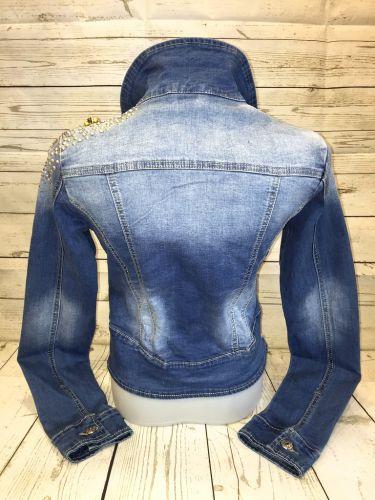 stretch jeansjacke mit strass perlen besetzt. Black Bedroom Furniture Sets. Home Design Ideas