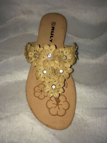 zehentrenner pantoletten flip flops mit bl mchen strass khaki ebay. Black Bedroom Furniture Sets. Home Design Ideas