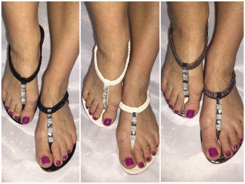 angebot zehentrenner sandaletten mit strass ebay. Black Bedroom Furniture Sets. Home Design Ideas