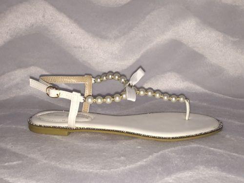 ausgefallene zehentrenner sandaletten mit perlen strass ebay. Black Bedroom Furniture Sets. Home Design Ideas