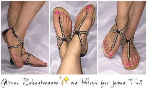 ausgefallene zehentrenner sandaletten mit strass ebay. Black Bedroom Furniture Sets. Home Design Ideas