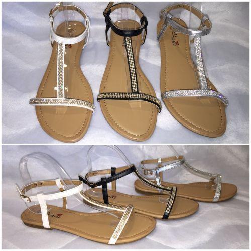 ausgefallene riemchen sandaletten mit strass. Black Bedroom Furniture Sets. Home Design Ideas
