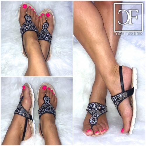 zehentrenner riemchen sandalen sandaletten mit glitzer strass schwarz ebay. Black Bedroom Furniture Sets. Home Design Ideas
